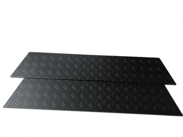 Alu Riffel schwarz Trittbretter/ Einstiegsleisten für VW T5/ T6/ T6.1 Multivan 4-teilig #10143BK