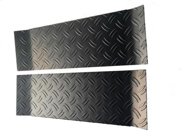 Alu Riffel schwarz Trittbretter/ Einstiegsleisten für VW T5/ T6/ T6.1 Multivan 3-teilig #10601BK