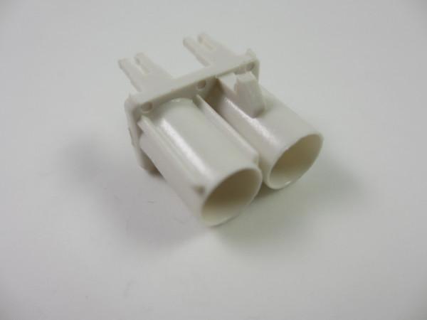 Doppel Kunststoff Buchse Weiß Stecker RF Radioanschluss Intoface #20081